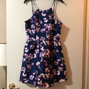 """Blue and Pink Floral Print """"Skater"""" Dress"""
